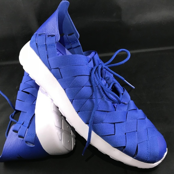 new concept 25deb 1a4c2 NIKE ROSHE RUN Blue Ribbon Blue Leather Womens 9